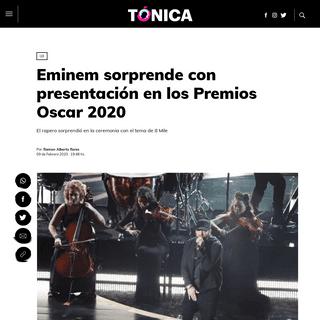 Eminem sorprende con presentación en los Premios Oscar 2020 - Tónica