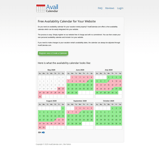 Free Availability Calendar for Your Vacation Rental Property