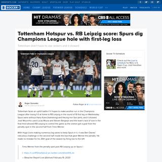 ArchiveBay.com - www.cbssports.com/soccer/news/tottenham-hotspur-vs-rb-leipzig-score-spurs-dig-champions-league-hole-with-first-leg-loss/live/ - Tottenham Hotspur vs. RB Leipzig score- Spurs dig Champions League hole with first-leg loss - CBSSports.com