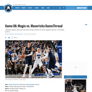Game 56- Magic vs. Mavericks GameThread - Orlando Pinstriped Post