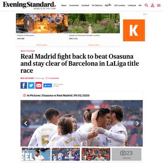 Osasuna 1-4 Real Madrid result, LaLiga match report - London Evening Standard