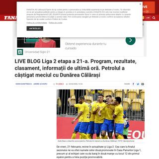 LIVE BLOG Liga 2 etapa a 21-A