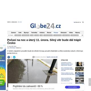 Počasí na noc a úterý 11. února. Silný vítr bude dál trápit Česko - Globe24.cz