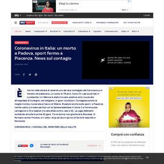 ArchiveBay.com - sport.sky.it/calcio/2020/02/21/coronavirus-italia-lombardia-news - Coronavirus in Italia, morto a Padova 78enne. Sport fermo a Piacenza, news sul contagio - Sky Sport