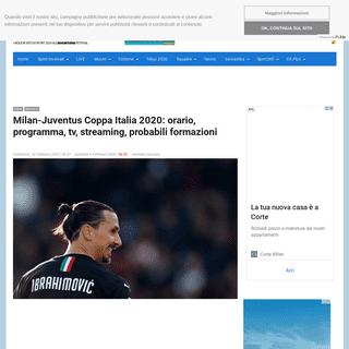 Milan-Juventus Coppa Italia 2020- orario, programma, tv, streaming, probabili formazioni – OA Sport