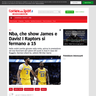 ArchiveBay.com - www.corrieredellosport.it/news/basket/nba/2020/02/13-66692152/nba_che_show_james_e_davis_i_raptors_si_fermano_a_15/ - Nba, che show James e Davis! I Raptors si fermano a 15 - Corriere dello Sport