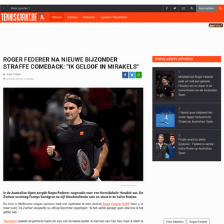 Roger Federer na nieuwe bijzonder straffe comeback- -Ik geloof in mirakels- - Tenniskrant.be