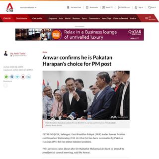 Anwar confirms he is Pakatan Harapan's choice for PM post - CNA