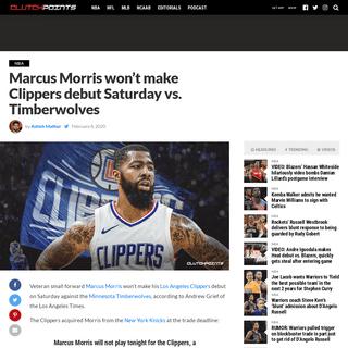 Clippers news- Marcus Morris won't make LA debut Saturday