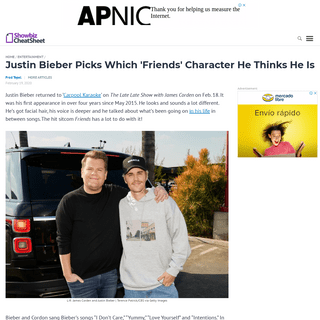 Justin Bieber Picks Which 'Friends' Character He Thinks He Is