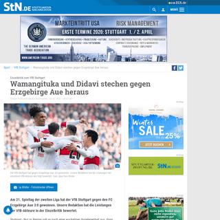 Einzelkritik zum VfB Stuttgart- Wamangituka und Didavi stechen gegen Erzgebirge Aue heraus - VfB Stuttgart - Stuttgarter Nachric