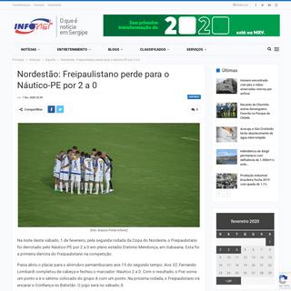 Nordestão- Freipaulistano perde para o Náutico-PE por 2 a 0 – Infonet – O que é notícia em Sergipe