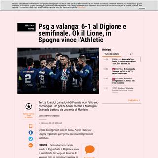 ArchiveBay.com - www.gazzetta.it/Calcio/Estero/12-02-2020/psg-valanga-6-1-digione-semifinale-si-gioca-anche-spagna-360889023092.shtml - Coppa di Francia e Coppa del Re- Digione-Psg 1-6, Athletic-Granada, Lione-Marsiglia - La Gazzetta dello Sport - Tutto il rosa de