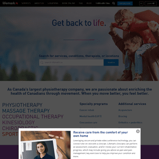 Physiotherapy, Massage Therapy, Occupational Therapy, Chiropractic, Kinesiology, Sport Medicine - Lifemark