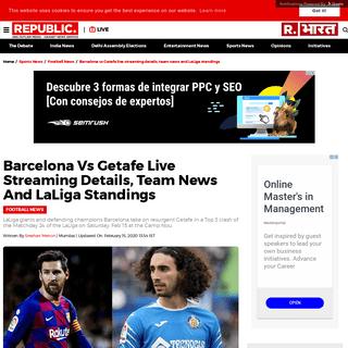 Barcelona vs Getafe live streaming details, team news and LaLiga standings - Republic World