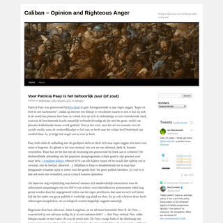 Caliban – Opinion and Righteous Anger - Trying to make sense of a world gone stark, raving mad.