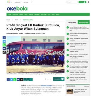 Profil Singkat FK Radnik Surdulica, Klub Anyar Witan Sulaeman - Okezone Bola