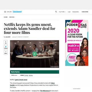 Netflix extends Adam Sandler deal for four new movies - EW.com - EW.com