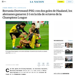 ArchiveBay.com - www.lanacion.com.ar/deportes/futbol/borussia-dortmund-paris-saint-germain-champions-league-nid2334606 - Borussia Dortmund-PSG- con dos goles de Haaland, los alemanes ganaron 2-1 en la ida de octavos de la Champions League - LA NACIO