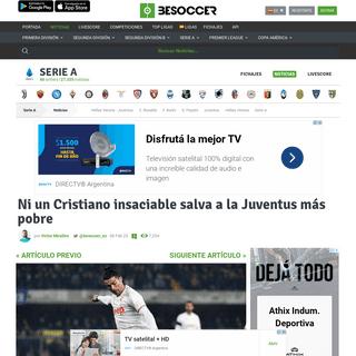 Ni un Cristiano insaciable salva a la Juventus más pobre - BeSoccer