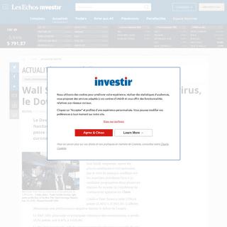 Wall Street chute face au coronavirus, le Dow perd plus de 1.000 points, Actualité des sociétés - Investir-Les Echos Bourse