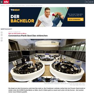 Mehr als 500 Punkte im Minus- Coronavirus-Panik lässt Dax einbrechen - n-tv.de