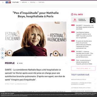 -Pas d'inquiétude- pour Nathalie Baye, hospitalisée à Paris - LCI