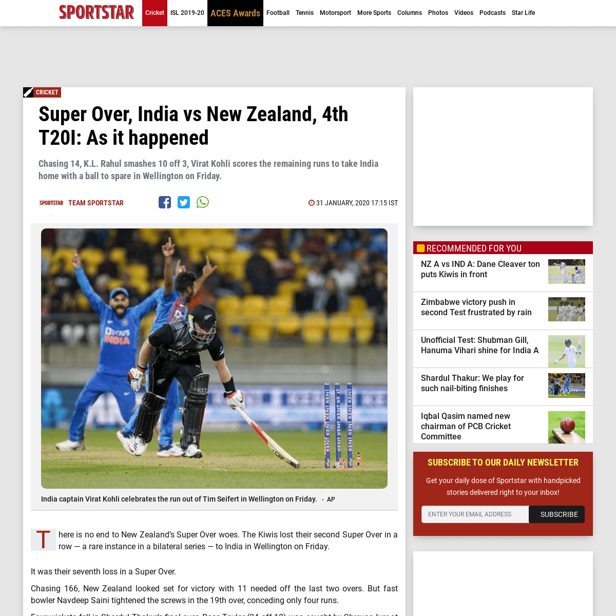 Super Over, India vs New Zealand, 4th T20I- As it happened - Sportstar