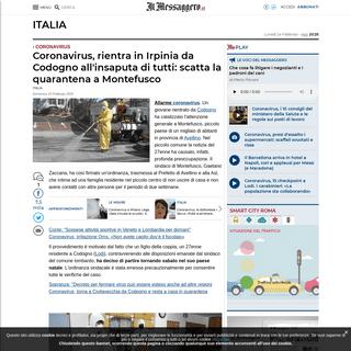 Coronavirus, rientra in Irpinia da Codogno all'insaputa di tutti- scatta la quarantena a Montefusco