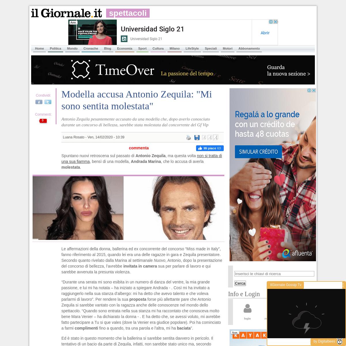 Modella accusa Antonio Zequila- -Mi sono sentita molestata- - IlGiornale.it