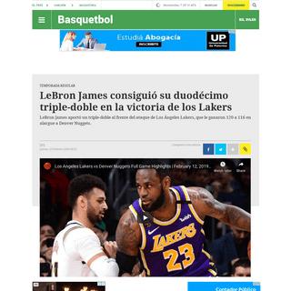 LeBron James consiguió su duodécimo triple-doble en la victoria de los Lakers - Ovación - 13-02-2020 - EL PAÍS Uruguay