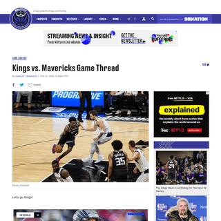 Kings vs. Mavericks Game Thread - Sactown Royalty