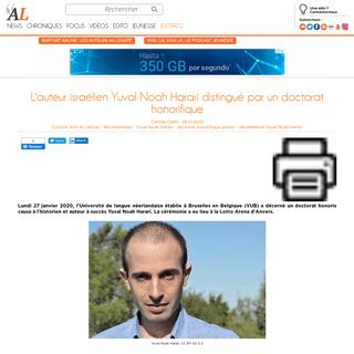 L'auteur israélien Yuval Noah Harari distingué par un doctorat honorifique