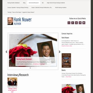 Hank Nuwer's Hazing Scholarship Site