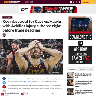 Cavs news- Kevin Love out with injury he suffered before trade deadline