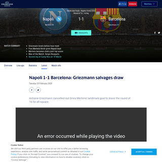 Napoli-Barcelona - Napoli 1-1 Barcelona- Griezmann salvages draw - UEFA Champions League - UEFA.com