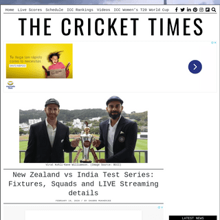 New Zealand vs India Test Series- Fixtures, Squads and LIVE Streaming details – CricketTimes.com