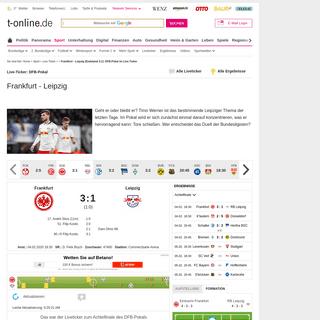 Frankfurt - Leipzig (Endstand 3-1)- DFB-Pokal im Live-Ticker