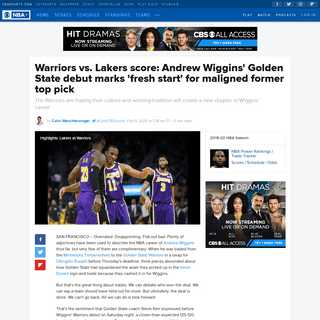 Warriors vs. Lakers score- Andrew Wiggins' Golden State debut marks 'fresh start' for maligned former top pick - CBSSports.com