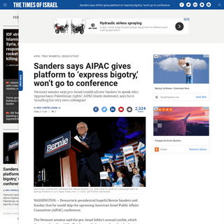 ArchiveBay.com - www.timesofisrael.com/democratic-frontrunner-bernie-sanders-to-skip-annual-aipac-conference/ - Sanders says AIPAC gives platform to 'express bigotry,' won't go to conference - The Times of Israel