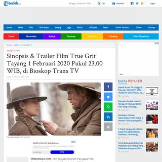 Sinopsis & Trailer Film True Grit Tayang 1 Februari 2020 Pukul 23.00 WIB, di Bioskop Trans TV - Tribun Solo