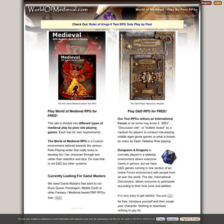 World of Medieval - Play By Post RPG - Text RPG - PBP D&D