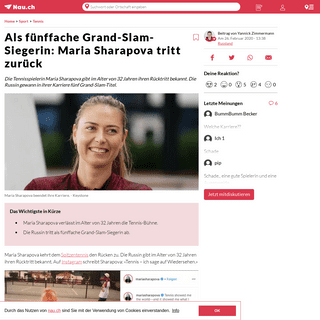 Als fünffache Grand-Slam-Siegerin- Maria Sharapova tritt zurück