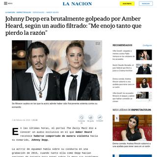 Johnny Depp era brutalmente golpeado por Amber Heard, según un audio filtrado- -Me enojo tanto que pierdo la razón- - LA NACIO