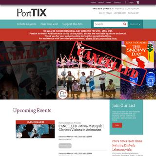 PortTIX - The Box Office At Merrill Auditorium - Portland Maine - Performances, Tickets, Events