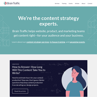 Brain Traffic - Content Strategy Consulting, Training, and Events