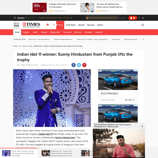 ArchiveBay.com - timesofindia.indiatimes.com/tv/news/hindi/indian-idol-11-winner-sunny-hindustani-from-punjab-lifts-the-trophy/articleshow/74273816.cms - Indian Idol 11 winner- Sunny Hindustani from Punjab lifts the trophy - Times of India
