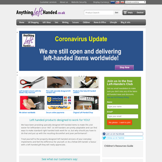 Anything Left Handed online shop - Left handed products for lefthanded people