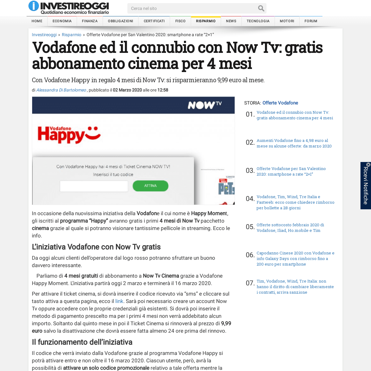 Vodafone ed il connubio con Now Tv- gratis abbonamento cinema per 4 mesi - InvestireOggi.it