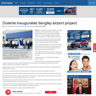 Duterte inaugurates Sangley airport project - Philippine Canadian Inquirer